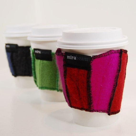 Trio of Java Jackets - Three Recycled Wool Coffee Cup Cozies