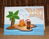 Very Tiki Christmas Holiday Cards - Set of 8 with Envelopes