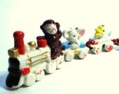 Ceramic Birthday Candle Holder Train Baby Animal Passengers Vintage