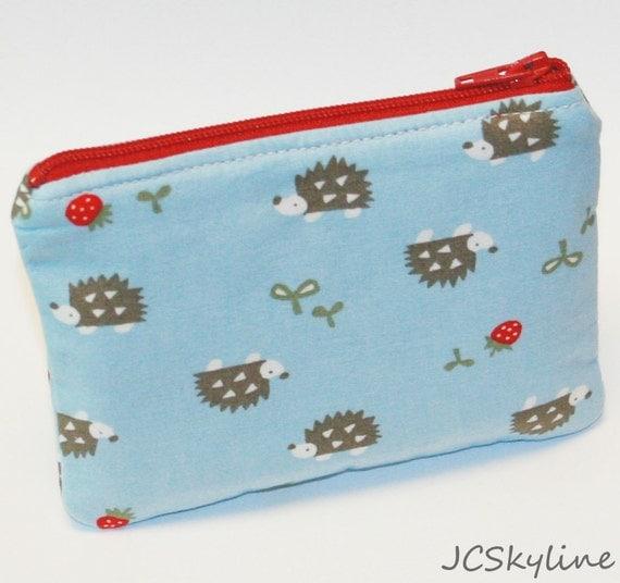 SALE Padded Zipper Pouch / Hedgehog / Strawberry