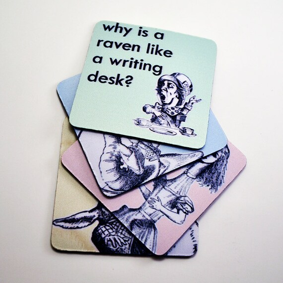 Alice in Wonderland Quotes in Pastel - Coaster Set of 4, Free North American Shipping
