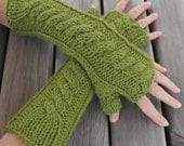 Hand Knitted Fingerless Gloves Arm Warmers in Lime Apple Green