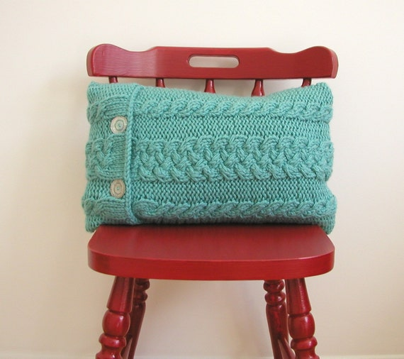 Turquoise Hand Knitted Cable Pillow / Cushion