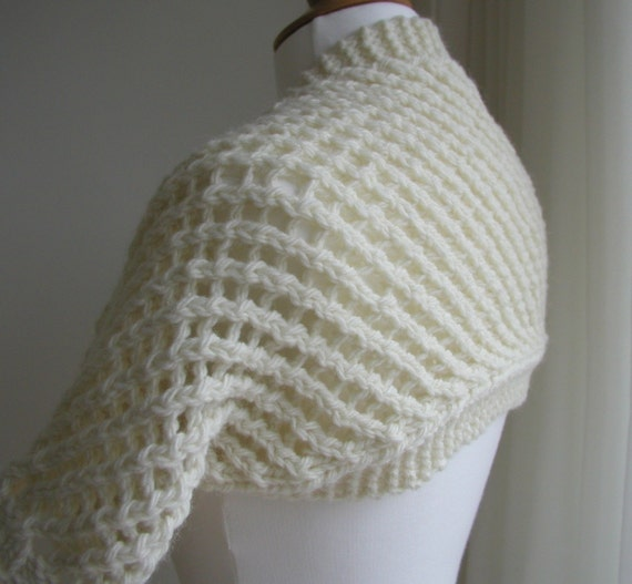 Hand Knitted Cream Lattice Lace Wool Shrug by ...
