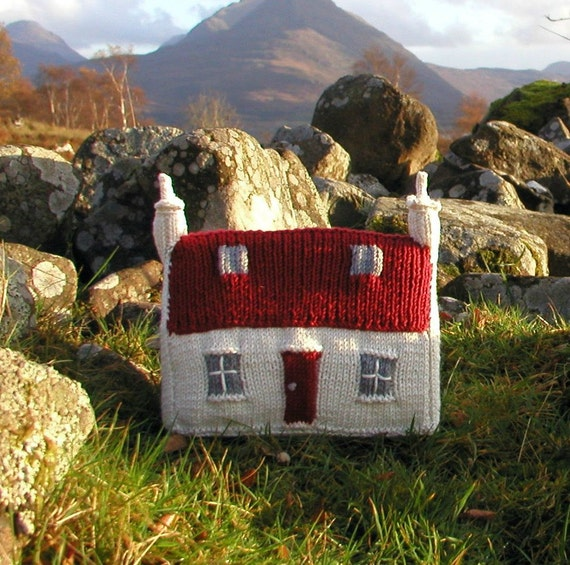 Knitting Pattern Scottish Red Roof Croft House PDF