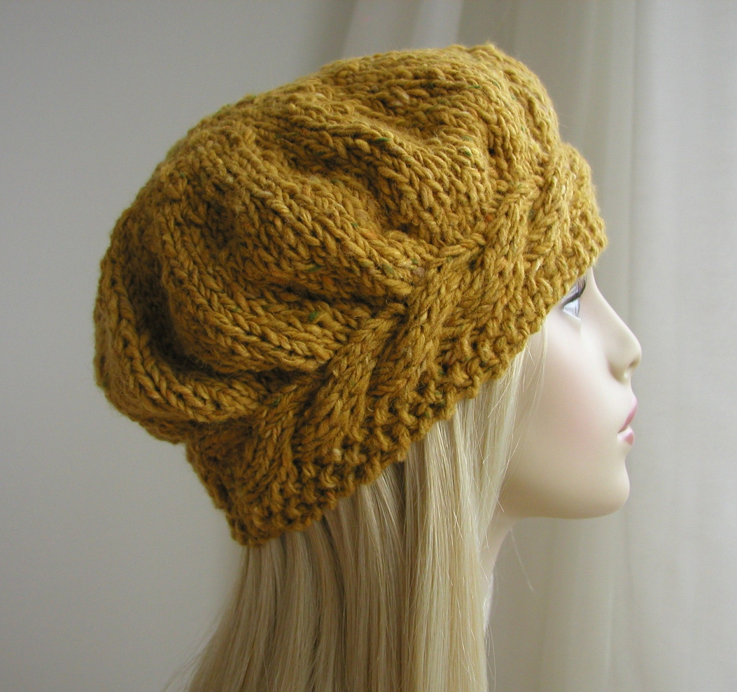Weekend Cable Beret Tam Hat Knitting Pattern by handknittedthings
