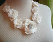 Reserved for Afton -  bib necklace, silk fabric flower necklace, pearl and crystal necklace, Layer Cake 1,  with vintage sculpted fabric