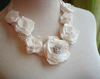 Wedding necklace, Flower and Pearl necklace, Crystal or rhinestone wedding necklace, Ivory or White
