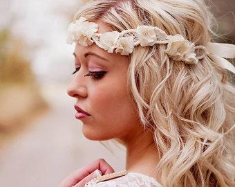 Wedding Headband - Ruffle Flower Art Nouveau Vintage Lace Wedding Halo Crown - wedding hair accessories -  ivory and rhinestone flowers