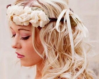 Retiring - Rustic Floral Crown - Boho Wedding Headband - Rustic Woodland Halo - Bridal Crown - Wedding Hair Accessories