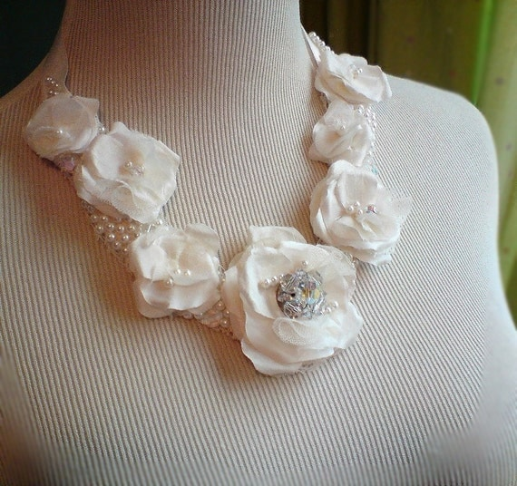 Layer Cake Wedding Statement Necklace,fabric flower bridal bib necklace,  with vintage sculpted fabric