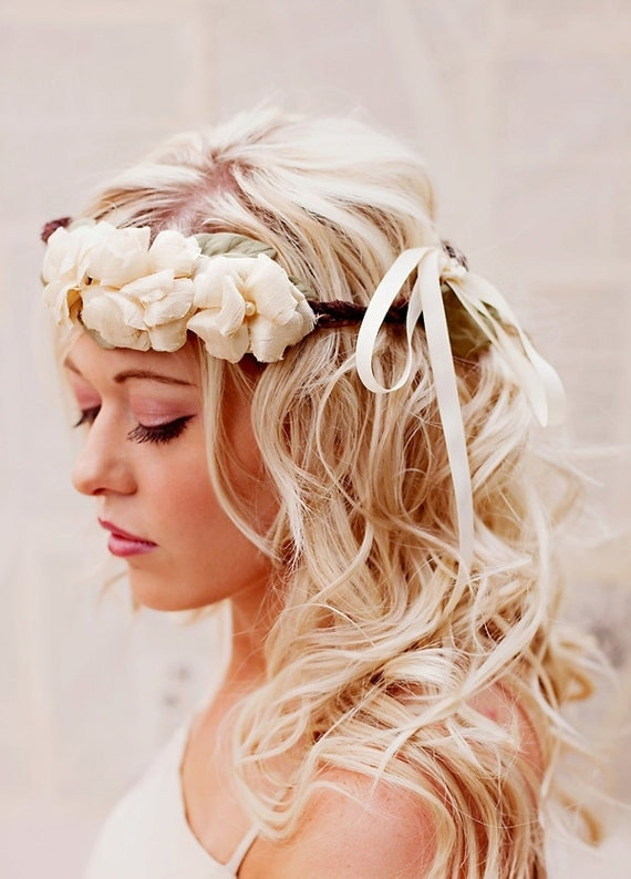 Retiring - Rustic Floral Crown - Boho Wedding Headband - Rustic Woodland Halo - Bridal Crown - Wedding Hair Accessories