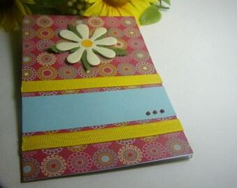 Handmade White Flower on Red Greeting Card
