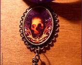 SALE Skull necklace - samhain halloween gothic dark -- illustrated jewelry