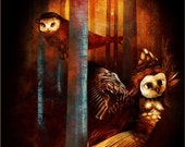 Owls wood A4 illustration PRINT