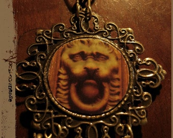 DOOR KEEPER photo necklace medieval - wearable photo jewelry