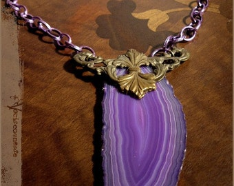 SALE- it was 32- Purple slice Agate Owl vintage filigree necklace steampunk