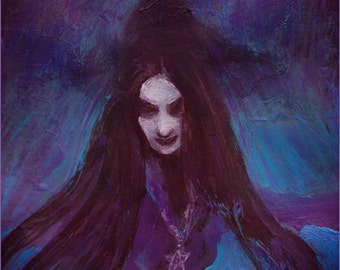 Purple witch - SALE - A4 illustration print from original painting - artwork Painting