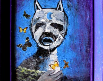 Cat -The butterflies guardian- original painting framed - artwork Painting