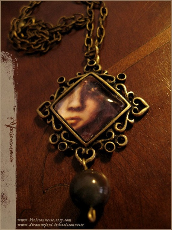illustrated necklace - Moth girl