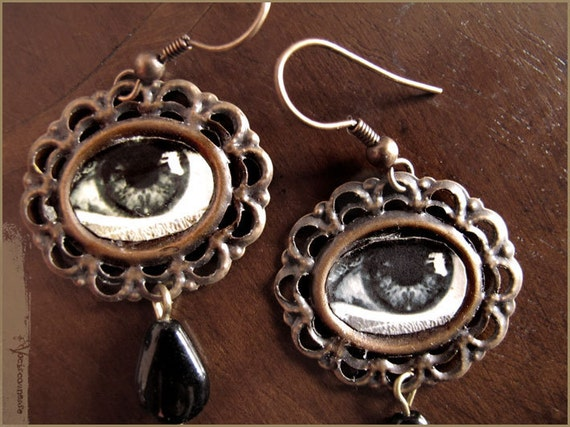 Black tears- surreal earrings with eyes and drops - illustrated jewelry