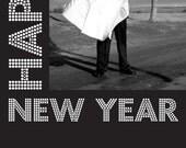 New Year in Lights - Custom Photo Christmas New Years Card