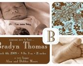 Jungle Print- Custom Photo Birth Announcement Card