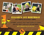 Construction Zone - Custom Photo Birthday Invitation
