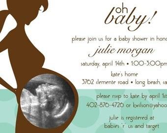Oh Baby Ultrasound Photo   Custom Baby Shower Invitation, Boy, Girl,  Neutral Designs