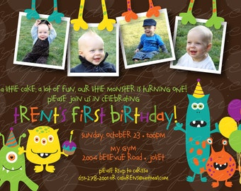 Little Monster Multi-Photo Birthday - Custom DIGITAL Photo Birthday Party Invitation Invite for ANY AGE