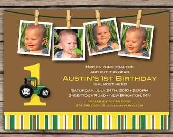 Green Tractor  Multi-Photo Birthday - Custom DIGITAL Photo Birthday Party Invitation Invite for ANY AGE