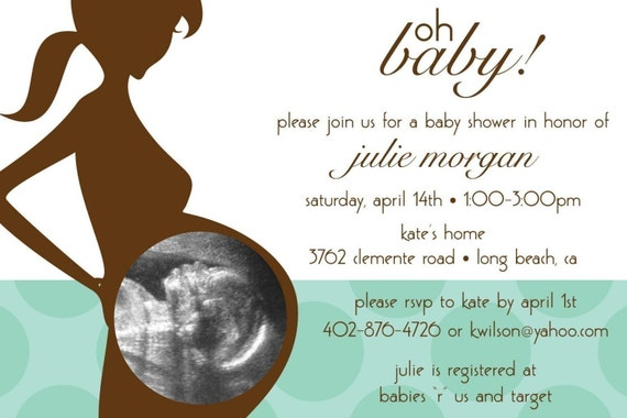 Oh Baby Ultrasound Photo - Custom Baby Shower Invitation, boy, girl, neutral designs