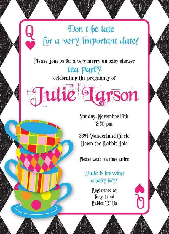 Mad Hatter Tea Party - Custom Baby Shower Invitation