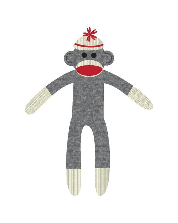 Sock Monkey - Printable Note Cards, Gift Tags and Stationery Templates