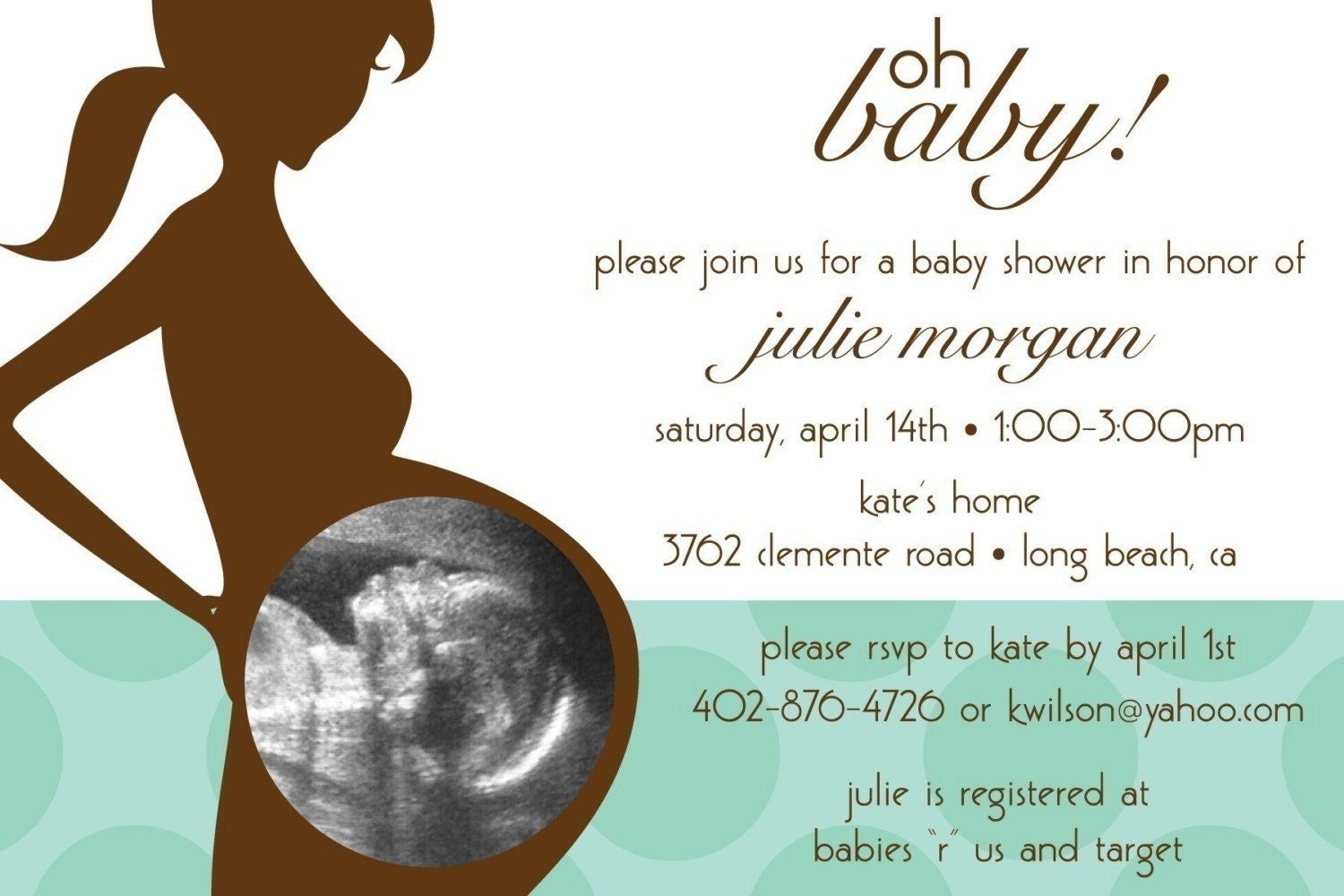 Oh Baby Ultrasound Photo Custom Baby Shower Invitation boy