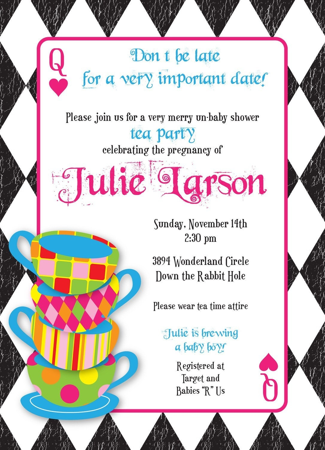 Mad Hatter Tea Party Custom Baby Shower Invitation