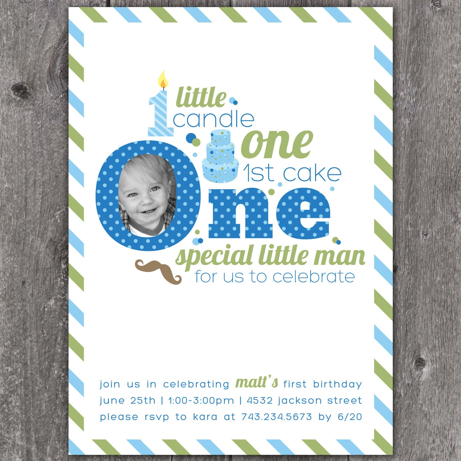 One Little Man Custom DIGITAL Photo First Birthday