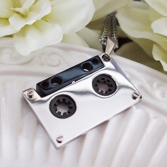 N165 Stainless Steel Cassette Tape Charm Necklace