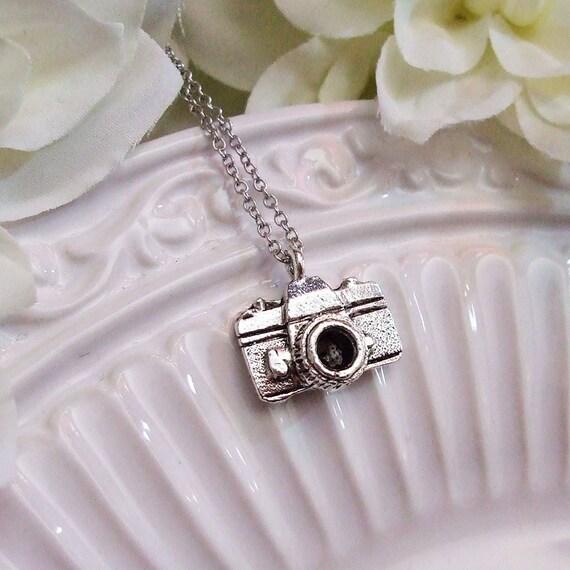 tiny camera necklace . silver