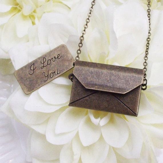 love letter necklace . bronze