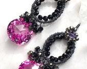 Pink Powderpuff, Pink Topaz, Black Spinel, Pink Amethyst, Pyrite Oxidised Sterling Silver Earrings