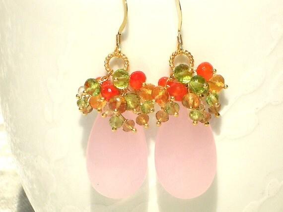 Tickled Pink, Rose Quartz, Carnelian, Peridot, Citrine, Crystal Quartz Gold Earrings