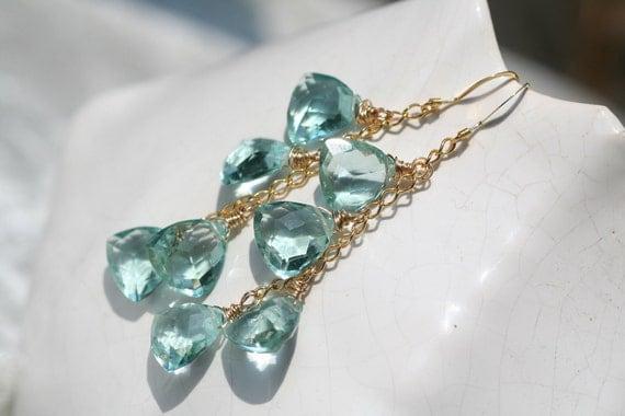 Sky Blue Quartz Briolette Long Drop Gold Fill Earrings