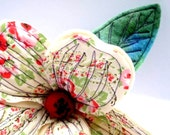 Textile Flower Ornament. Stand Alone. Shabby Chic.