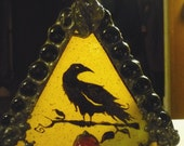 Gothic Raven & Moon Reverse Painted Halloween Stained Glass Candle Holder