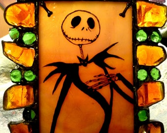 Jack Skellington Stained Glass Hand Painted Candle Holder  Halloween  Nightmare Before Christmas