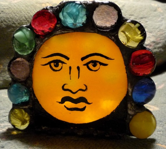 Mayan Moon Jeweled Stained Glass Candle Holder
