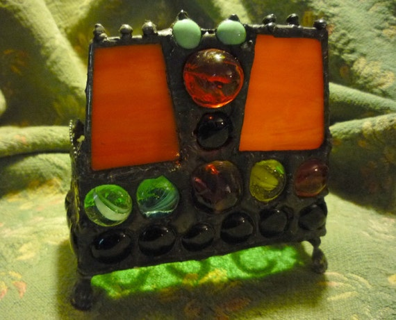Business as Unusual - Gothic Hand Crafted Stained Glass Candle Holder or Business Card Holder
