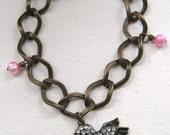 Brass Rhinestone Hummingbird Bracelet