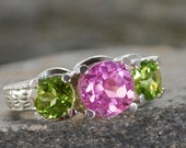 Pink Sapphire and Peridot 3 stone sterling silver ring